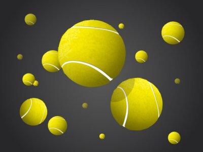Plakat Przenoszenie tenisową piłki latające, objętych samodzielnie na ciemnym tle.
