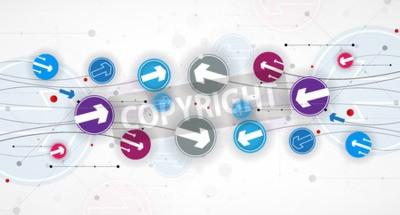 Plakat Przepływ strzałkami. Wyobraźnia procesów biznesowych i technologicznych. Vector futurystycznym tle z świetny pomysł na prezentację