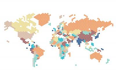 Plakat Przerywana Mapa świata sześciokątnych kropek