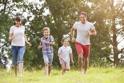 Plakat Przez rodzina bieg uśmiecha polu latem razem