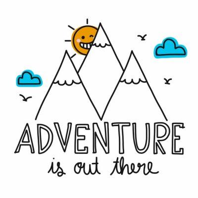 Plakat Przygoda jest tam literatura i niedziela uśmiech i górskich cartoon ilustracji wektorowych doodle stylu