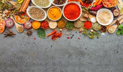 Plakat Przyprawy i herbs.Food i składniki kuchni.