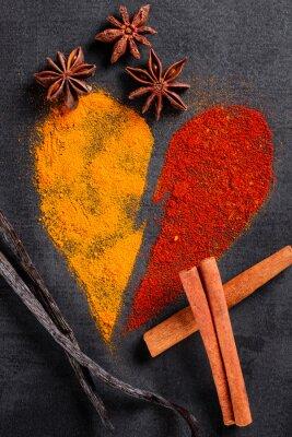 Plakat Przyprawy ułożone na wzór złamane serce