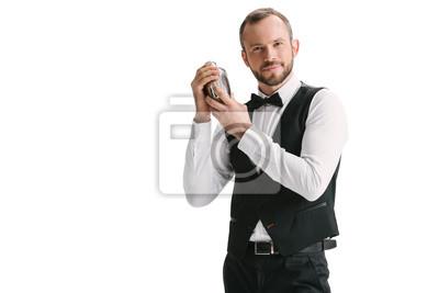 Plakat przystojny barman z wytrząsarką