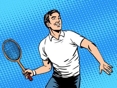 Plakat Przystojny mężczyzna gra w tenisa