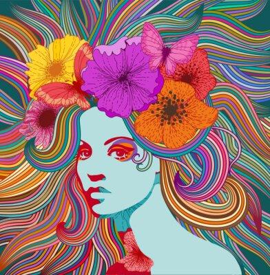 Plakat Psychodeliczny portret kobiety hippie z kolorowymi włosami, kwiatami i motylami. Eps 10 wektor