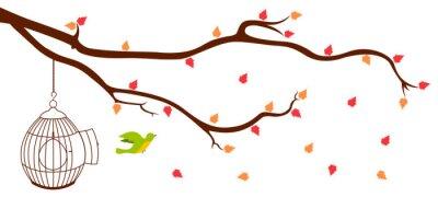 Plakat Ptak opuszcza klatkę z gałęzi drzewa