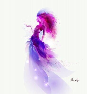 Plakat Purpurowy dekoracyjny skład z dziewczyną na białym tle. Cząstki magenta i kształty tworzą abstrakcyjną figurę kobiety.