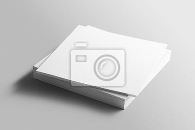 Plakat Pusta kwadratowa fotorealistyczna broszura mockup na jasnoszarym tle.