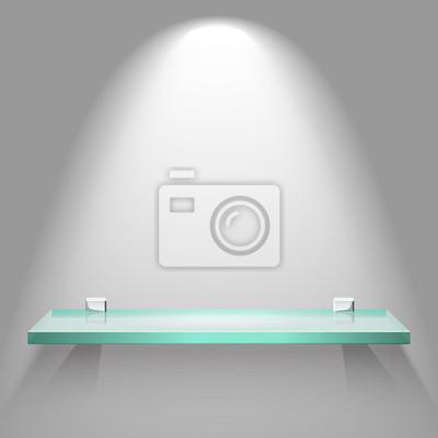 Pusta Półka Szklana W Jasnym Miękkie Oświetlenie Wiszące Na ścianie Plakaty Redro