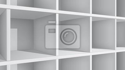 Puste białe półki, widok perspektywiczny