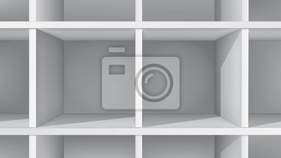 Puste białe półki, widok z przodu