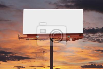Plakat Puste Billboard z zachodem słońca niebo