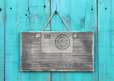 Plakat Puste drewniane znak na niebieskim tle drewnianych turkusowy