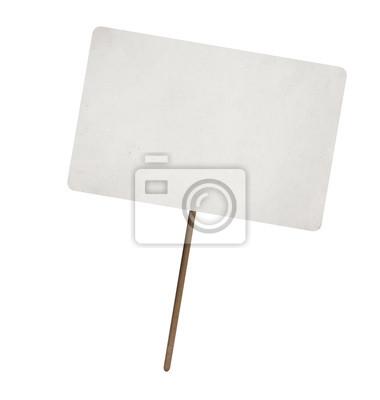 Plakat pusty arkusz papieru na drewnianym kijem