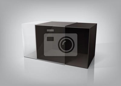 Pusty otwarte czarne pudełko opakowania dla nowego projektu