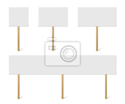 Plakat Pusty transparent makiety na kolekcji drewna kija. Wektor zestaw pustych różnych uchwyt deski deski. Znaki protestacyjne na białym tle.