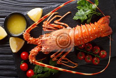 Plakat Pyszne jedzenie: gotowany kolczasty lub skalisty homar z pomidorem, cytryną i stopionym masłem z bliska. poziomy widok z góry