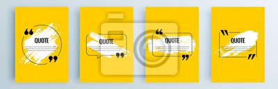Plakat Quote frames blank templates set. Text in brackets, citation empty speech bubbles, quote bubbles. Textbox isolated on color background. Vector illustration.