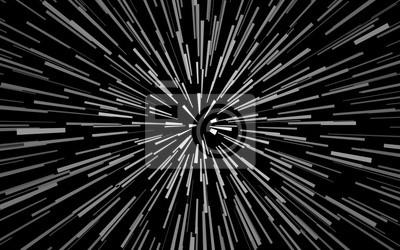 Plakat Radial koncentrycznych białe cząstki na czarnym tle efekt zoom