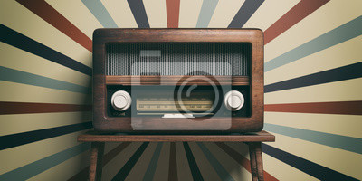 Plakat Radio old fashioned on wooden table, retro wall background, 3d illustration