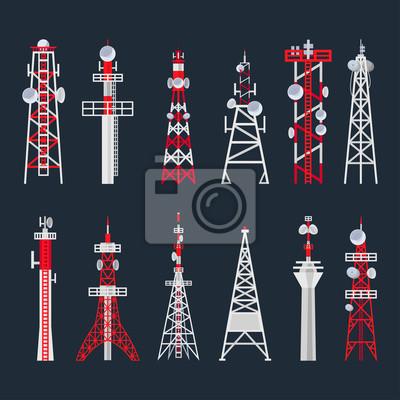 Plakat Radio tower set, media and information technology