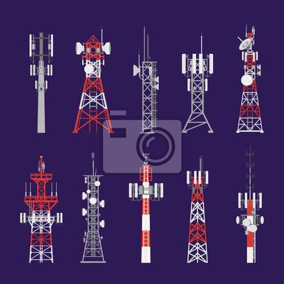 Plakat Radio towers, telecommunication antenna poles