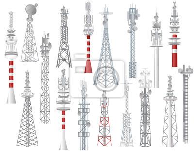 Plakat Radiowej wieży wektor górował technologii komunikacyjnej anteny budowę w mieście z sieci bezprzewodowej sygnałowej staci ilustracyjnym setem nadzwyczajny nadawczy wyposażenie odizolowywający na białym