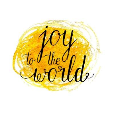 Plakat Radość z życzeniami światowej, plakat z ręcznie rysowane miejscu akwareli. Wektor tła z ręcznie drukiem.