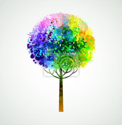 Plakat Rainbow abstrakcyjna drzewa, tworząc plamy