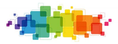 Plakat Rainbow gradient colorful vector background with overlapping semi-transparent squares