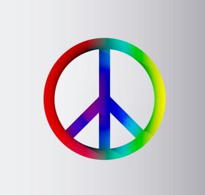 Plakat Rainbow znak pokoju z cieni. Ikona pokoju