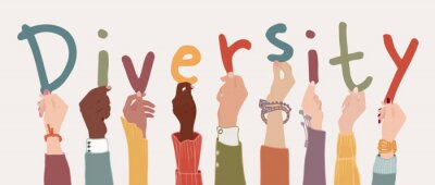 Plakat Raised arms of a group of diverse multi-ethnic multicultural people holding the letters forming the word -Diversity- in their hands. Racial equality concept. Variety of people. Banner