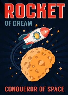Plakat Rakieta w kosmosie leci nad planetą z kraterami podobnymi do księżyca. Retro plakat w stylu cartoon.