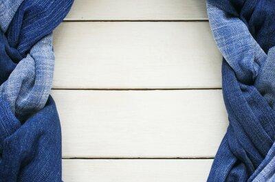 ramki z dwóch stylowe warkocze i warkocze laced niebieski genoway tkaniny na bia? ym tle drewniane