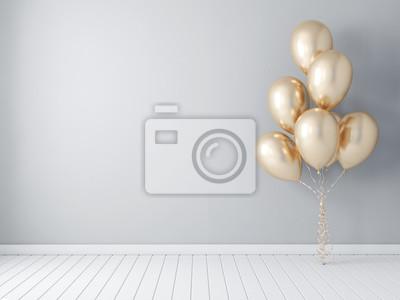 Plakat Ramowy plakatowy mockup z złocistymi balonami, lotniczy ballon 3d rendering