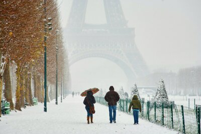 Plakat Rare snowy day in Paris