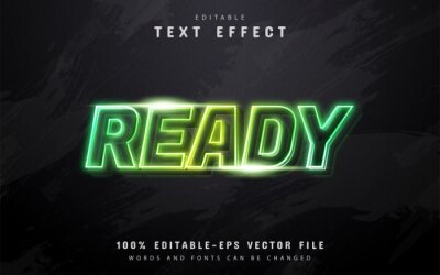 Plakat Ready text, green neon style text effect