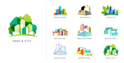 Plakat Real estate logo, building development, set of logos, icons and elements