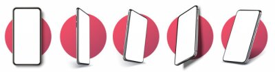 Plakat Realistic layout of the smartphone in different positions. Mobile phone frame with blank display isolated templates, phone of different types and different angles. 3D/UX template vector illustration