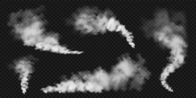 Plakat Realistic smoke clouds. Stream of smoke from burning objects. Transparent fog effect. White steam, mist. Vector design element.
