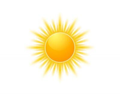Plakat Realistic sun icon for weather design. Sunshine symbol happy orange isolated sun illustration