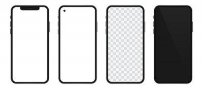 Plakat Realistic templates of modern smartphone. Vector phone mockup set.
