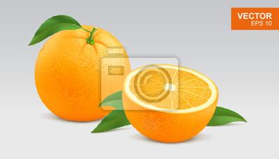 Plakat Realistic yellow orange vector illustration, icon. Whole and half slice of orange
