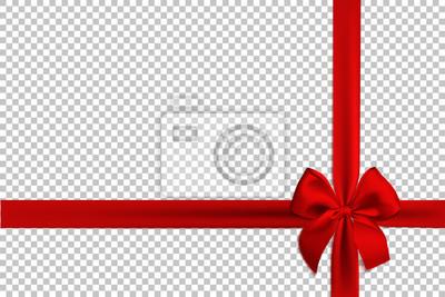 Plakat Realistyczna czerwona kokarda i wstążki na przezroczystym tle. Szablon broszury lub karty z pozdrowieniami. Ilustracji wektorowych.