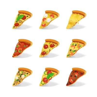 Plakat Realistyczne 3d szczegółowe plastry pizzy zestaw. Wektor