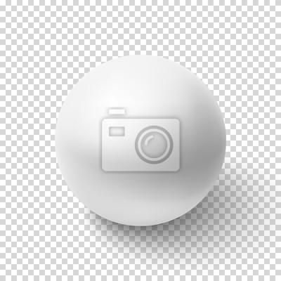 Plakat Realistyczne biała kula samodzielnie na przezroczystym tle.