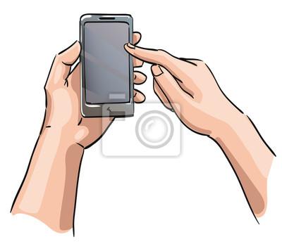 e7245dd05079d5 Plakat Ręce trzyma telefon z pustego ekranu na wymiar • nowoczesny ...