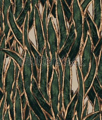 Plakat ręcznie malowane tapety wodorostów. egzotyczny wzór trawy. tropikalna ilustracja do ochrony tkanin i powierzchni