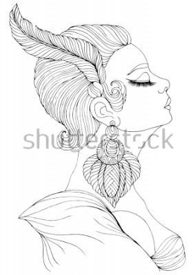 Plakat Ręcznie opracowany portret w profilu eleganckiej damy w stylu Art Deco. Dziewczyna z piórkiem w krótkiej fryzurze i związkach kolczyku. Kolorowanka A4.